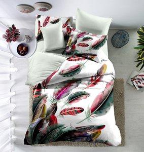Conjuntos de cama colorido Feather Kid Teen Girl Roupa de Cama Lençol Capa de Edredão Fronha de Cama