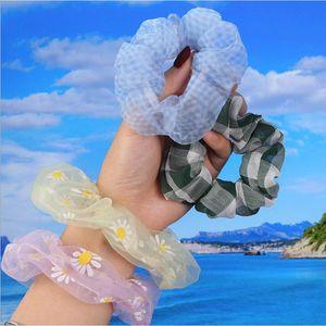Organza souple Bandeaux élastiques Scrunchie Sweet Chiffon Ties cheveux élastique Ponytail Jaune Vert Rose mince Cheveux Corde Couvre-chef chaud
