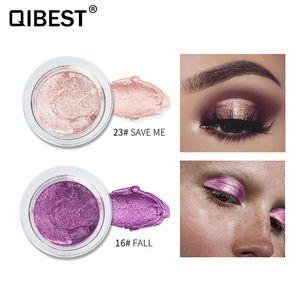 Moda QIBEST 25 Colores Maquillaje Sombra de Ojos Brillo Crema Sombra de Ojos Brillante Metálica Cosmética para Todo tipo de Piel