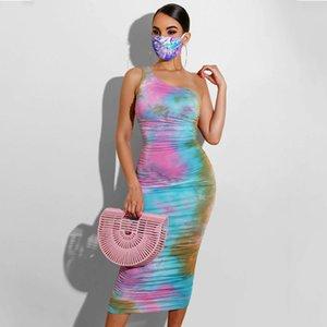 2020 Frauen Luxury Designer-Sommer-Kleider eine Schulter 3D-Druck dünne beiläufige figurbetontes Kleid Weibliche Kleidung