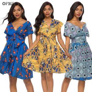 Opslea African Dresses For Women Ethnic Print Pleated Bandage Short Skirt Bazin Riche Vestidos Dashiki Robe Africaine Femme 2019