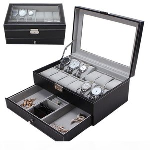 Professional 12 Grids Slots Watches Storage Box PU Leather Double Layers Watch Jewelry Case Holder Black Brown Casket Box 2019