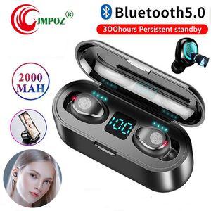 1 PCS Wireless Earphone V5.0 F9 TWS Wireless Bluetooth Headphone LED Display With 2000mAh Power Bank Headset With Microphone