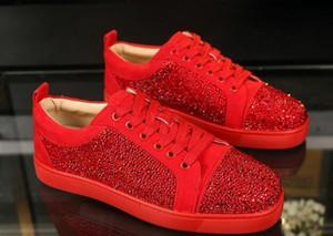 Qualidade 2019 Chegada Nova Red Bottoms Homens Mulheres Sapatos Moda Suede com pontos preguiçosos rebites botas de vestido ocasional Flats luxo sapatilhas Z09