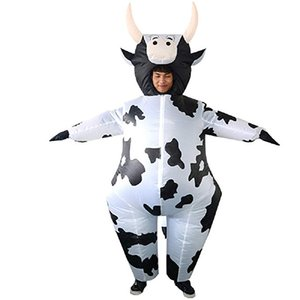 Halloween Costume Gonflable Vache Fantaisie Party Dress Blow Up Costume Mascot Blanc Pour Adulte