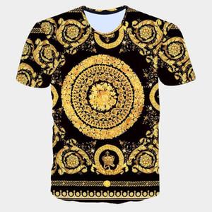 Marca di modo degli uomini Golden Flower T-shirt estate 3D stampa blu T-shirt a maniche corte di lusso Homme reali barocchi Uomo Abbigliamento Top T200111