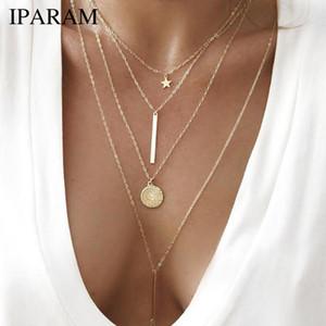 IParam 2019 joyería de fantasía collar de la vendimia de Bohemia de múltiples capas Ronda collar de la estrella de las señoras en capas de oro largo de la manera pendiente de Rod