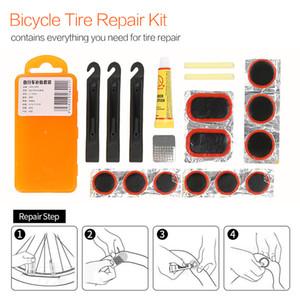 1 juego de bicicletas de montaña Herramientas de reparación de bicicletas Tire Repair Kits de herramienta de reparación de goma plana Kit de tubo de neumático de bicicleta Kit de parches pegamento