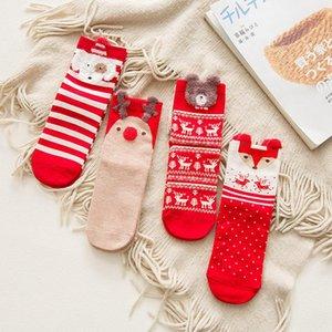 Calcetines de algodón de dibujos animados rojo mediano de Navidad de las señoras de las mujeres de Navidad calcetines calcetines de algodón Otoño Invierno 4pairs regalo del partido / porción FFA3228