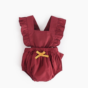 Baby Back cross romper INS Girls boys Ruffle Flying sleeve Jumpsuits 2019 summer fashion Boutique kids Climbing clothes BY0769