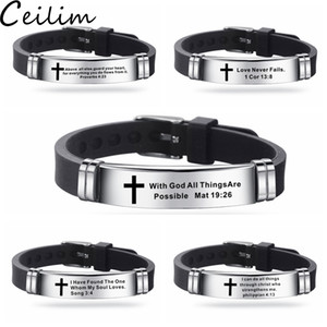 Nuevo diseño pulseras verso de la Biblia para la oración de los hombres pulsera de silicona Biblia Cotizaciones Oración Cristiana Cruz Pulsera de acero inoxidable Brazalete