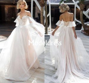 Laço boêmio Ilusão Vestidos de Casamento Com Decote Em V A Linha de Tule Trem Macio Vestido de Noiva Sem Encosto Transparente Sexy Moderna Estilo Praia Vestidos Baratos