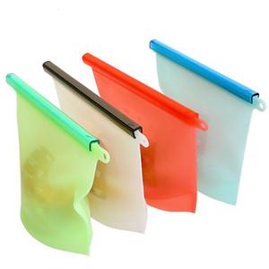 حقائب حقيبة قابلة لإعادة الاستخدام 1500ML سيليكون الأغذية الطازجة الأغطية الثلاجة تخزين المواد الغذائية حاويات ثلاجة حقيبة مطبخ الملونة [زيبلوك LJJA3144