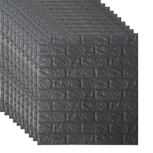 Hot sale Factory price70*77 3D Brick Wall Stickers Self adhesive DIY PE Foam Wallpaper Living Room TV Background Decor Panels Ki