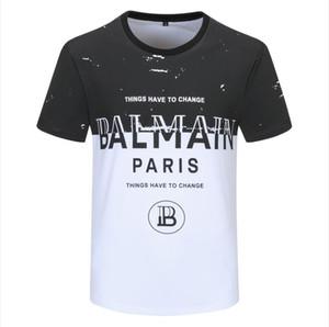 2020 شارع الصيف ارتداء القمصان للرجال العلامة التجارية الفاخرة التي شيرت البلوزات الرجال المحملة القميص عادية الأزياء طباعة الرقبة الطاقم القطن التي شيرت M # بالمن-4XL