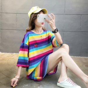 Nkandby Große Regenbogen-Streifen-T-Shirt Frauen 2020 Frühling beiläufige lose Stickerei Short Sleeve Top Aufmaß Baumwolle lange T-Shirt