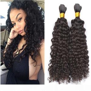 Malaysian Human Hair Bulk 3Pcs lot Kinky Curly Hair Bulk For Braiding Natural Color No Attachment
