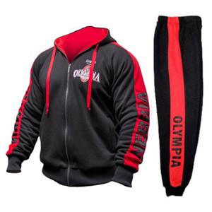 2018 OLYMPIA Mens cerniera Felpe Fashion Casual palestre maschi Bodybuilding fitness cotone Felpa sportswear top coat Marca