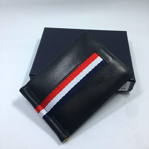 Couro genuíno cartão de crédito Titular Wallet preto clássico Designer Dinheiro carteira clipe de 2020 Novos Homens bolsas ID Card Case Drop Shipping