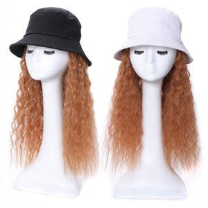 Brown Kinky Curly Hair Extensions with Black & White Hat 100% Read Human Hair extension Integrate Cap With Hair For Girl & Lady Party 36CM