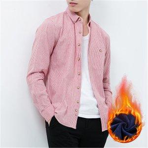 Camicie Camicie Primavera nuova banda degli uomini Maschio 100% di velluto in cotone a maniche completo più per tenere in caldo Recreational