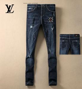 52811 Diseño retro hombre jeans Nostalgia color del agujero de Jóvenes Delgado pequeños pantalones rectos del vaquero