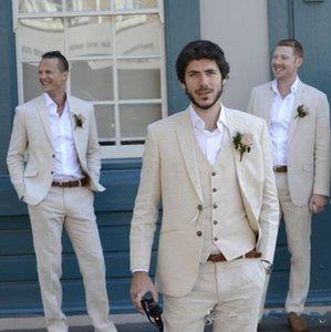 Trajes de hombre de boda de lino para padrinos de boda Traje de boda a medida Bestmen Summer Marriage Guxe Tuxedo 3 piezas (chaqueta + pantalón + chaleco) WH097