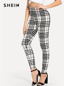 SHEIN Black And White Office Lady Highstreet Plaid Skinny High Waist Casual Leggings Summer Women Elegant Leggings Trousers