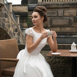 2020 старинные свадебные платья короткие укороченные рукава чайная длина кружева аппликация цветочный Атлас на заказ простое свадебное платье Vestido de novia