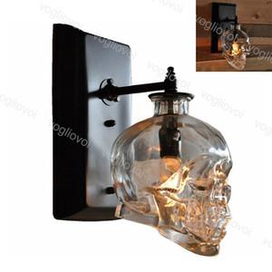 Lâmpada de parede Cabeça Crânio Individual Criatividade Transparente Vidro 110-240V Retro loft para sala de jantar interior cafe bar home dhl