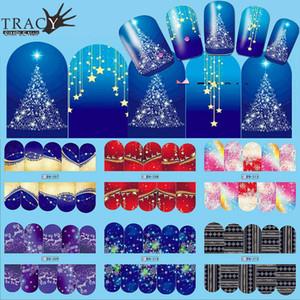 1шт Nail Art Christmas Water Transfer Советы Снежинка Синий Полный Обертывания Patterns Временные наклейки ногтей DIY инструмента TRBN205-216