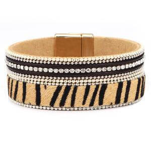 Venta caliente pulsera de estampado de leopardo de pelo de caballo joyería femenina pulsera de personalidad exagerada salvaje dominante para mujeres