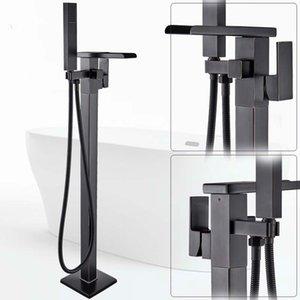 Andar montado Cachoeira Bico Tub Faucet Preto Bronze Banho Bath Shower Set com Chuveiro telefone Banheira Independente Tap