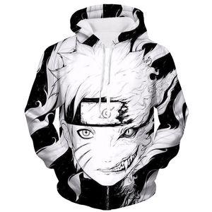 Felpa con cappuccio unisex moda uomo donna Naruto Akatsuki felpa con cappuccio pullover stampa 3D con tasca frontale