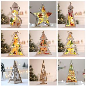 LED albero di natale illuminato in legno decorazione dell'albero per la festa di Natale Home Decor Desktop Window Window Appeso regalo del pendente 9 colori XD21175