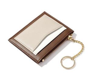 DHL100pcs Coin bolsas Mulheres PU Multifuncional Min curto carteira com porta-chaves 4colors