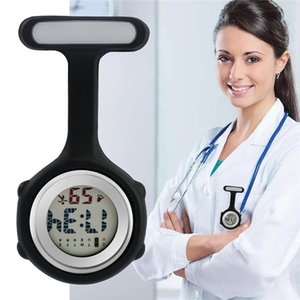 Multicolor Fashion Women's Digital Display Dial Clip-On Fob Nurse Brooch Pin Hang Pocket Watch Silicone Alloy Watches