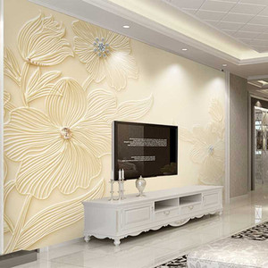 Drop Shipping Custom Mural Wallpaper High Quality Diamond Flower Pattern 3D Relief Modern Simple Background Wall Painting Paper