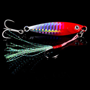 High Quality 6Pcs Set 3D Eye Fishing Lure Lead Lures Feather Fishing Tackle 6 Colors 60mm 15G-#6 Hook