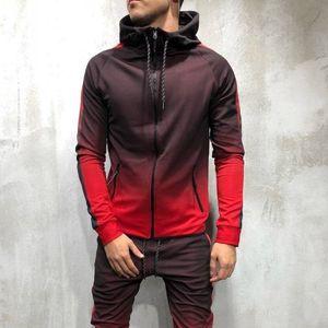 Hip Hop Moda Casual Deportes Suéter de hombre Trajes Sudaderas con capucha de diseñador para hombre 3D Gradient Zipper Cardigan Hoodies