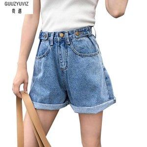 GUUZYUVIZ Plus Taille Vintage Casual Bouton Coton Lavé Taille Haute Pantalon Boyfriend Jeans Pour Femmes Y19042901