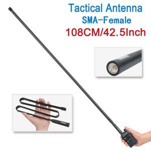 ABBREE 108 CM / 42.5INCH SMA-Fêmea Dual Band VHF UHF 144/430 Mhz Dobrável Antena Tática Para Baofeng UV-5R UV-82 BF-888S Walkie Talkie UV 5R