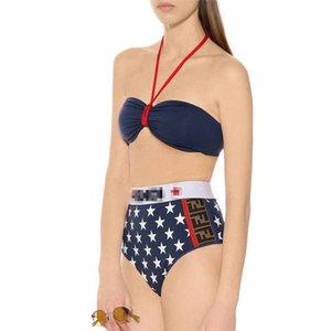 One Piece Swimwear Branded Lace Up Bikini Classic Color Luxury Two-Piece Swimwear Sexy Separate Wrapped Tube Top Breasts Bikini Set