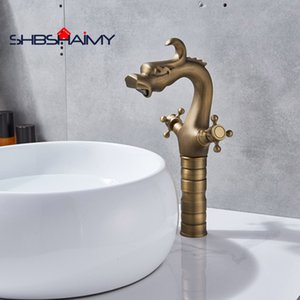 Antique Brass Handle dupla Dragão chinês bacia banheiro torneira Deck Montado Handle dupla Mixer Tap