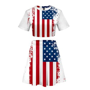Cross-border selling trend around the US Independence Day 3D hilum casual short-sleeved T-shirt + skirt suits