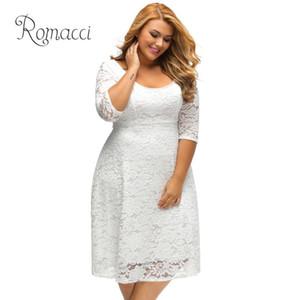 Romacci Mujer Blanco Vestidos de encaje 2018 de alta calidad floral 3/4 manga A-line más tamaño vestido mujer V Zip Back negro vestido de fiesta MX19070302