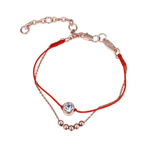 Trendy 2 Layer Red Thread String Rope Bracelet Round Crystal From Swarovski Gold Color Handmade Beads Chain Women Gift Adjusted