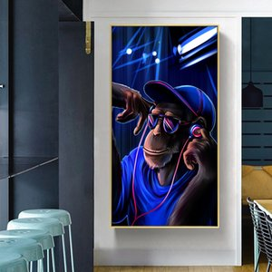 Monkey Poster House Painting Blue Background Canvas Paintings Modern Animal Picture Art Wall Art No Frame