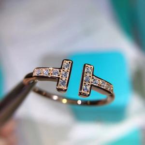 S925 argent sterling de luxe double anneau charme de timbre anneau ouvert punk forme T bijoux jour de Noël PS6476