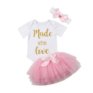 Yenidoğan Bebek Kız Romper Harf Üst Jumpsuit Tutu Etek Kafa Kıyafetler Giyim Seti Tatlı Çocuk Voile Etekler Seti
